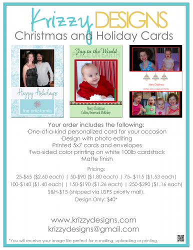 Krizzy Designs Christmas Card Flyer